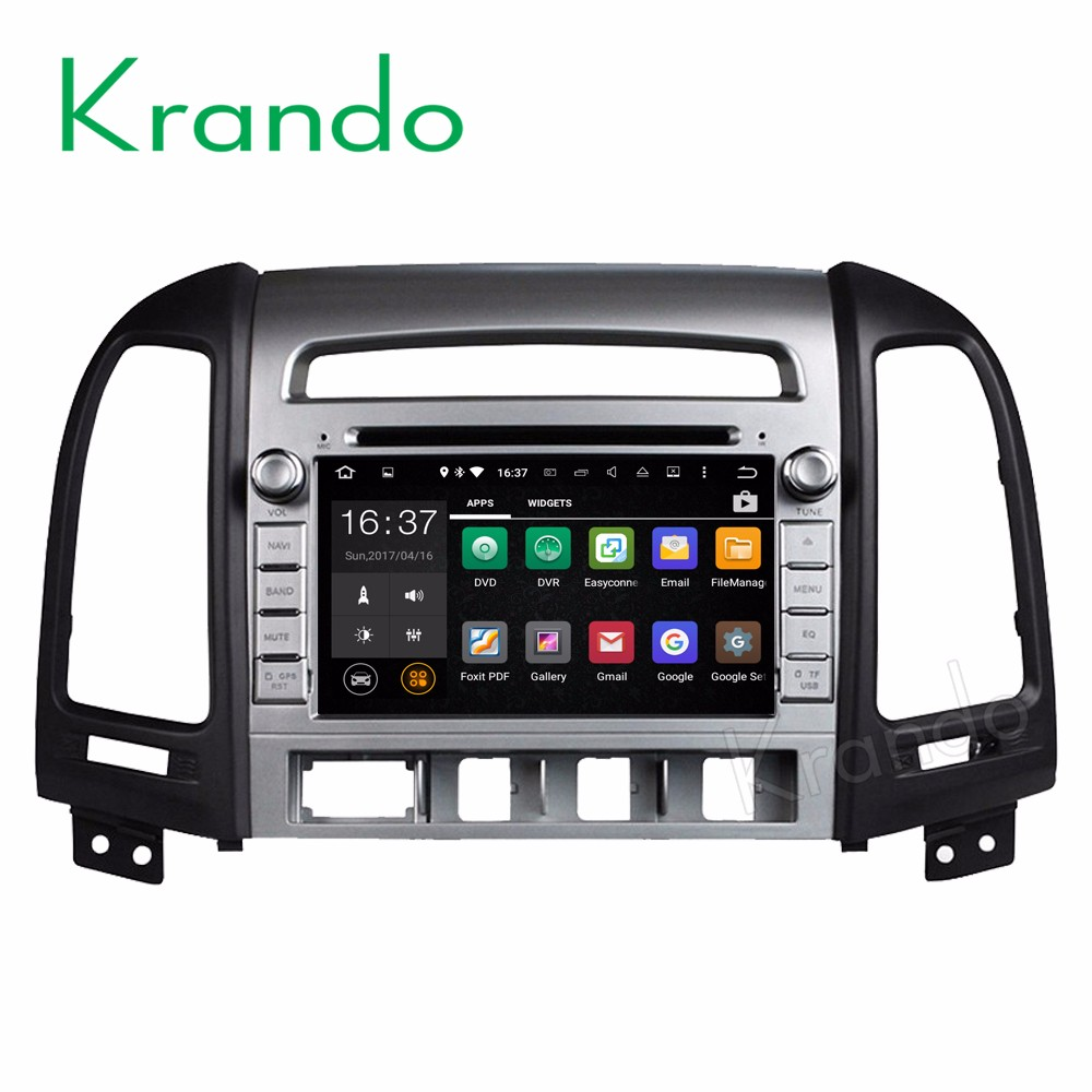 Krando Android 7.1 car radio gps 2 din car dvd for hyundai santa fe 2006-2012 car multimedia navigation system WIFI 3G KD-HY704