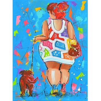 Renkli şişman Bayanlar Ve Onu Köpek Diy Için Elmas Boyama Düğün