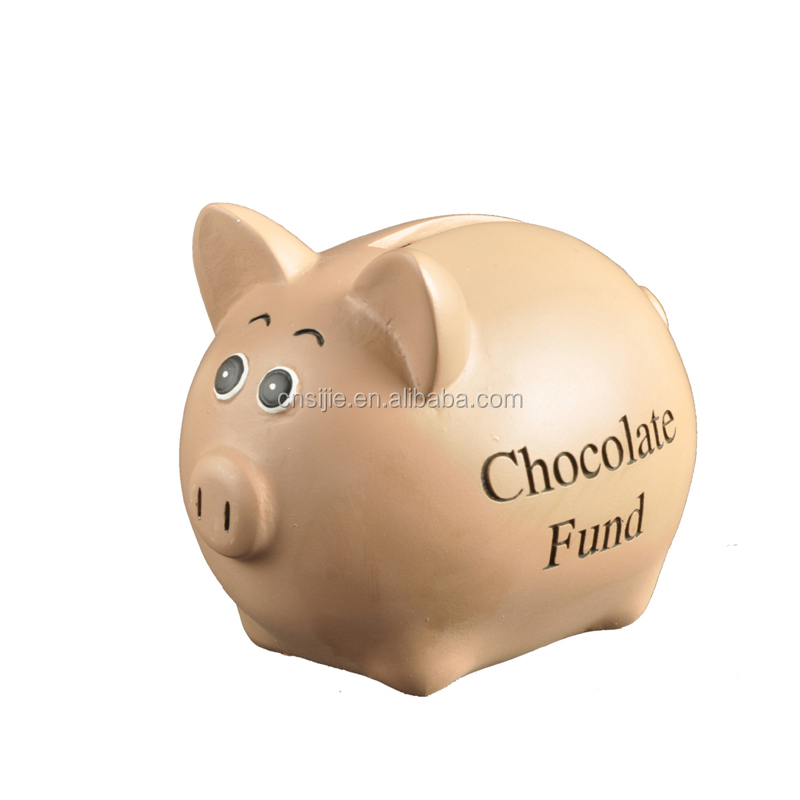 Existing Mold Polyresin Funny Chocolate pig money saving box