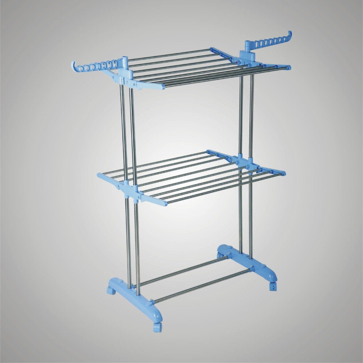 Stainless Steel Multifunctional Two Layers Clothes Rack , Folding Clothes Drying Racks MR-8021