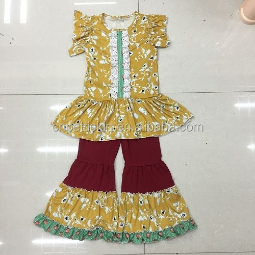 edde873e5 Yellow Floral Clothing And Red Ruffle Pants Pretty Baby Girl Clothing Set  Hot Wholesale Children Outfits Nice Girl Dress - Buy China Factory
