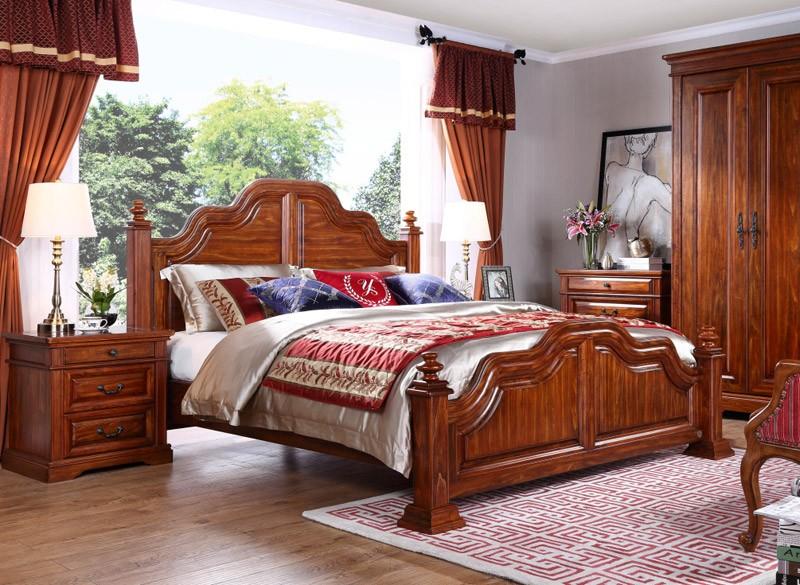Nuevo estilo americano de madera maciza cama cama king for Cama king size de madera