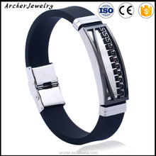 Fashion Stainless Steel Rubber Bracelet Mens Custom Silicone Bracelet ST-123