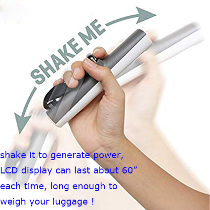 110lb Battery Free The Shake Me Digital Travel Luggage Scale
