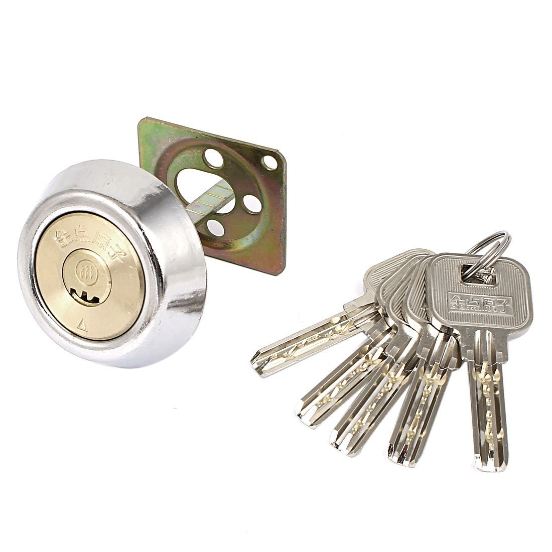 uxcell Office Door Gate Anti-theft Security Copper Lock Core w 5 Keys