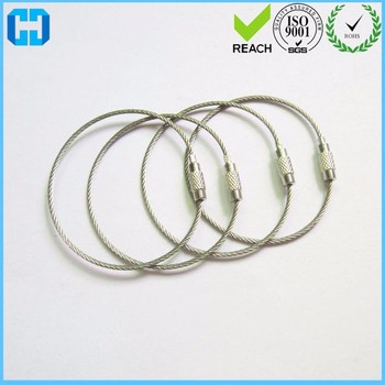 3af0a0f99ad57 Stainless Steel Cable Wire Loop Luggage Tag Key Chain Ring Screw Lock - Buy  Stainless Steel Screw Locking,Twist Cable Wire,Wire Key Chain Ring Product  ...