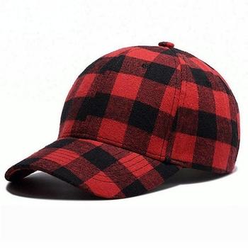 New European Style Plain Red Black Check Plaid Baseball Cap Dad Hat ... d4e729ce606