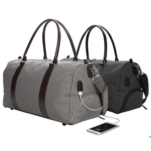 Simplified design mens soft overnight travel bag with USB charging port