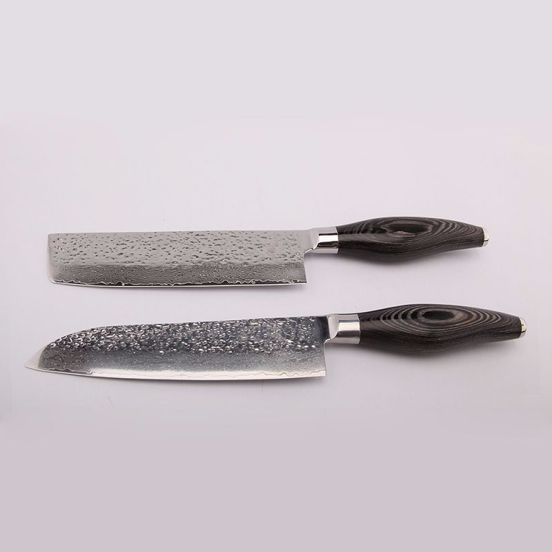 high quality kitchen damascus knife with wooden handle kitchen knife