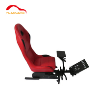 Red Racing Video Game Chair for Xbox Playstation Supports Logitech Thrustmaster Fanatec Steering Wheel and Pedal Controllers