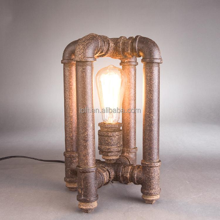 Retro European Creative Industrial Water Pipe Bedside Table Lamp ...