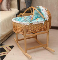 Beautiful hand weaving vine rattan baskets with handles dolls moses basket and stand