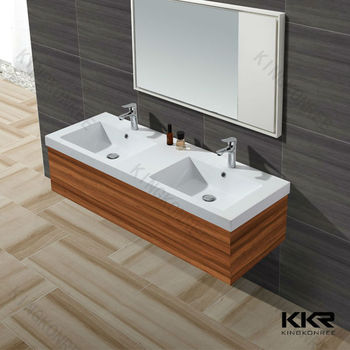 Acrylic Solid Surface Bathroom Cabinet Double Sink