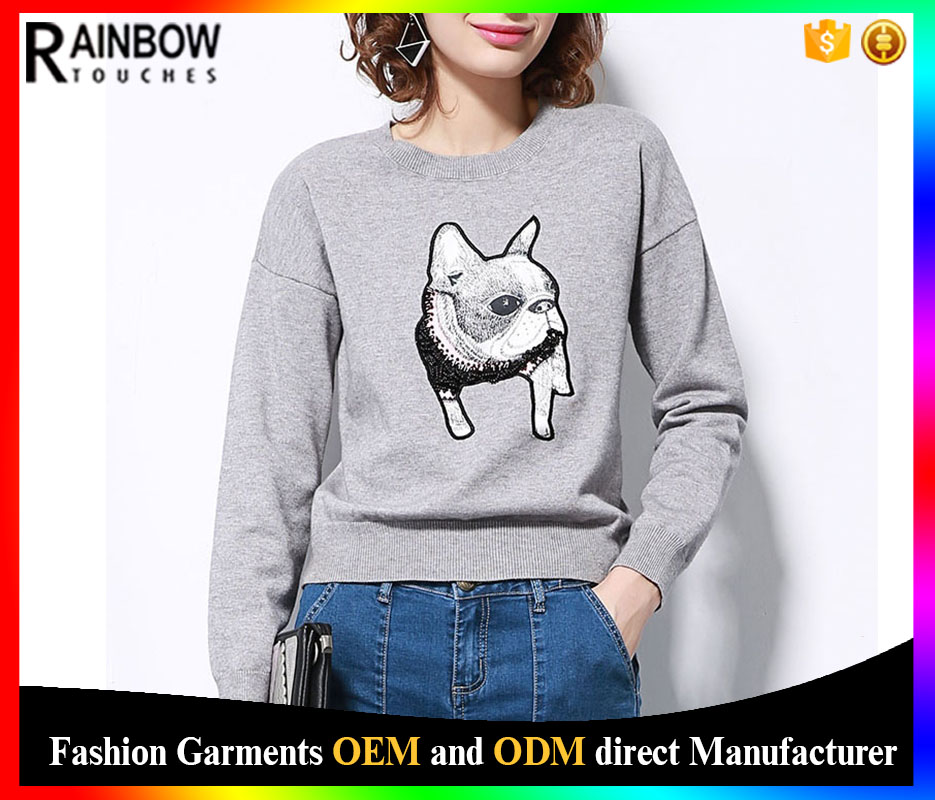 New Design Embroidered Patch Woolen Knitted Fabric Sweater For Ladies