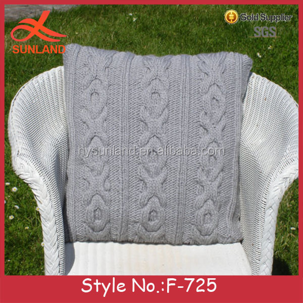 F-725 new design gray wholesale soft hand knit rattan chair cushions