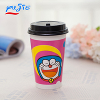 Disposable 12oz Coffee Paper Cup Customize Printed Cute Cartoon Animals Paper Cup