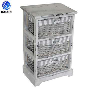 Shabby Chic Rattan Furniture Wooden Nightstand Side Table With Wicker Baskets