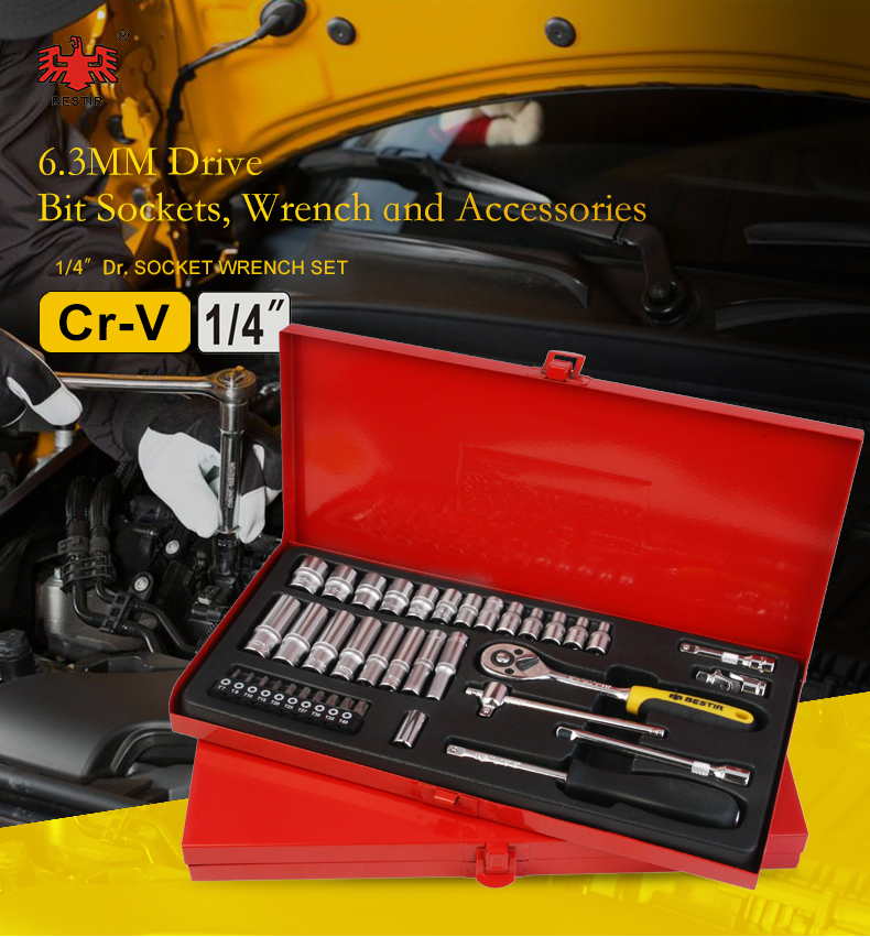 "Bestir 1/4"" 6.3mm Drive Bit Socket Wrench Set with Accessories 91101 91102 91103 60Pcs 38Pcs Insert Bit Garage Tool"