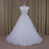Open back cap sleeves wedding dress A line bridal gown with beading on the bust