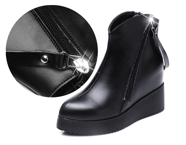 2015 autumn and winter genuine leather boots shoes woman Increased within Wedges pointed shoes Martin boots casual ankle boots