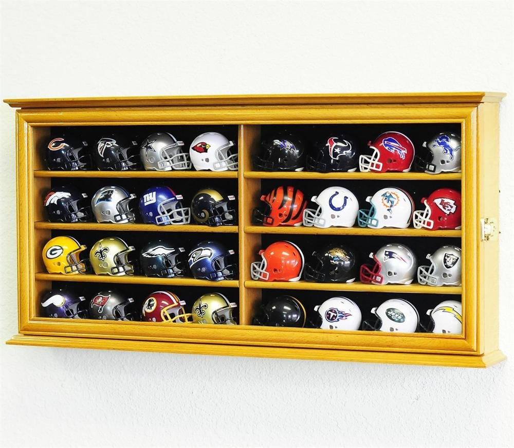 32 Pocket Pro Mini Helmet Display Case w/Door & ALL 32 Mini Helmets INCLUDED!!