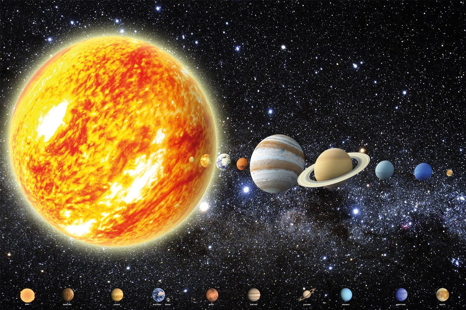 Solar System with Planets Picture Wallpaper – Galaxy Universe Space Wallpaper – Stars Sky Moon Earth – Poster Xxl Wall Decoration Great Art