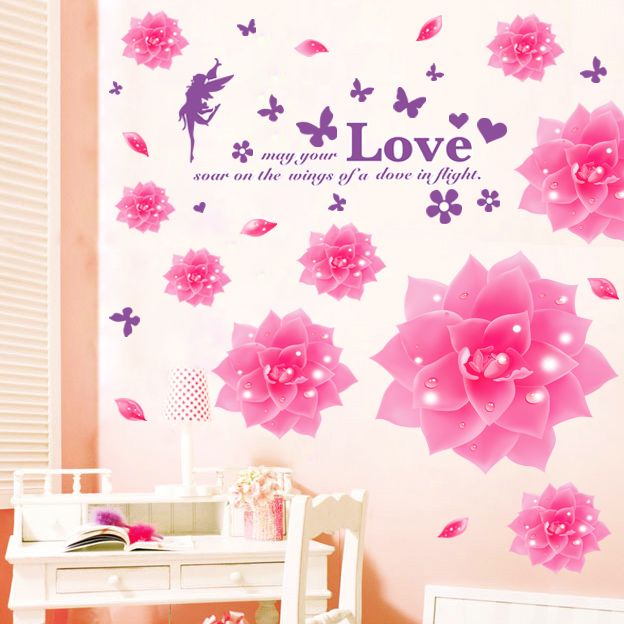 2015 Removable Wall Stickers For Living Room Sofa Bedroom Cozy Restaurant TV Backdrop Stickers Home Decorative Flowers