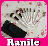 9pcs white clear handle travel cosmetic makeup brush set
