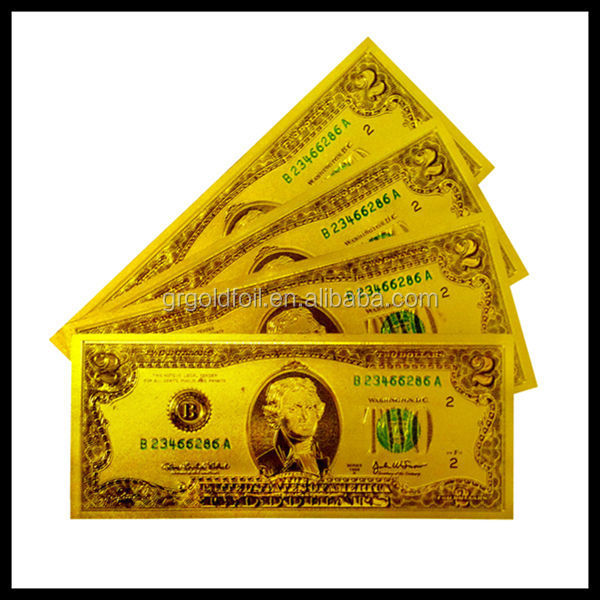 See larger image Gold foil banknote of two dollars Currency note collection 2 dollars