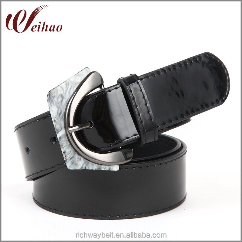 factory direct fashion big ladies belts with unique buckle