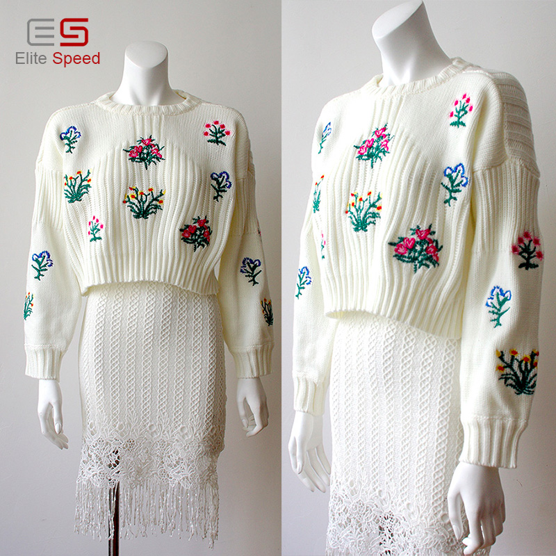 2017 newest women floral embroidered knit Oversized sweater
