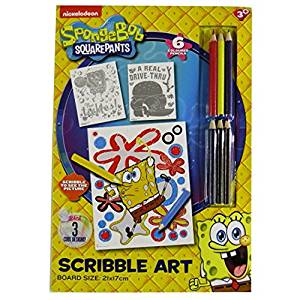 Spongebob Squarepants Magical Scribble Art – 3 Design Sheets & 6 Colour Pencils