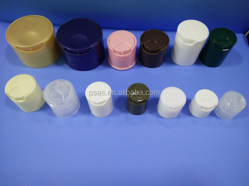 Cheap PP Plastic Solid Black Plastic Bottle Disc Top Press Caps for Cosmetic Bottle