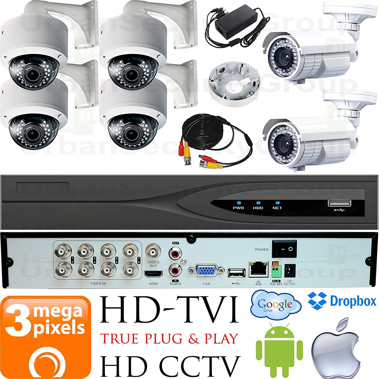 USG Business Grade 3MP HD-TVI 6 Camera CCTV Kit : 4x 2.8-12mm Dome + 2x 5-50mm Bullet Cameras + 1x 8 Channel 3MP DVR + 1x 4TB HDD + 6x 100ft CCTV Cable + 2x 4 Channel Power Supply : Android Apple App