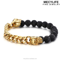 MECYLIFE Personalized Steel Curb Chain Volcanic Rock Energy Beads Bracelets Skull Bracelets