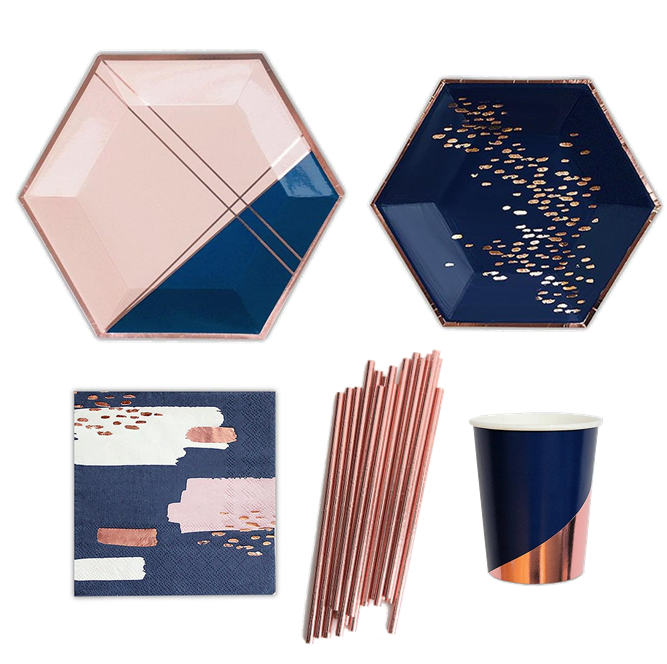 Einweg Rose Gold Papierschale Papier Stroh Party Geschirr Set Rose Gold Pappteller