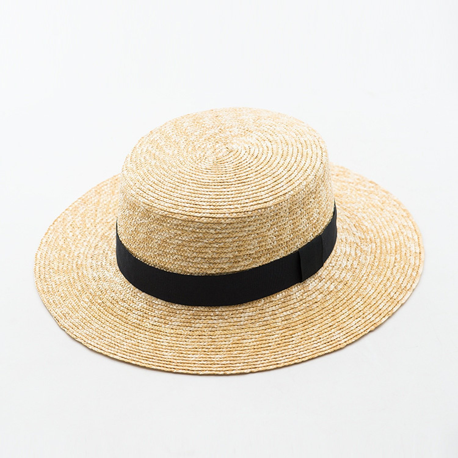 23b2b18a4c896 Get Quotations · Hyunong natural straw flat straw hat Ms. spring and summer  with a flat straw hat