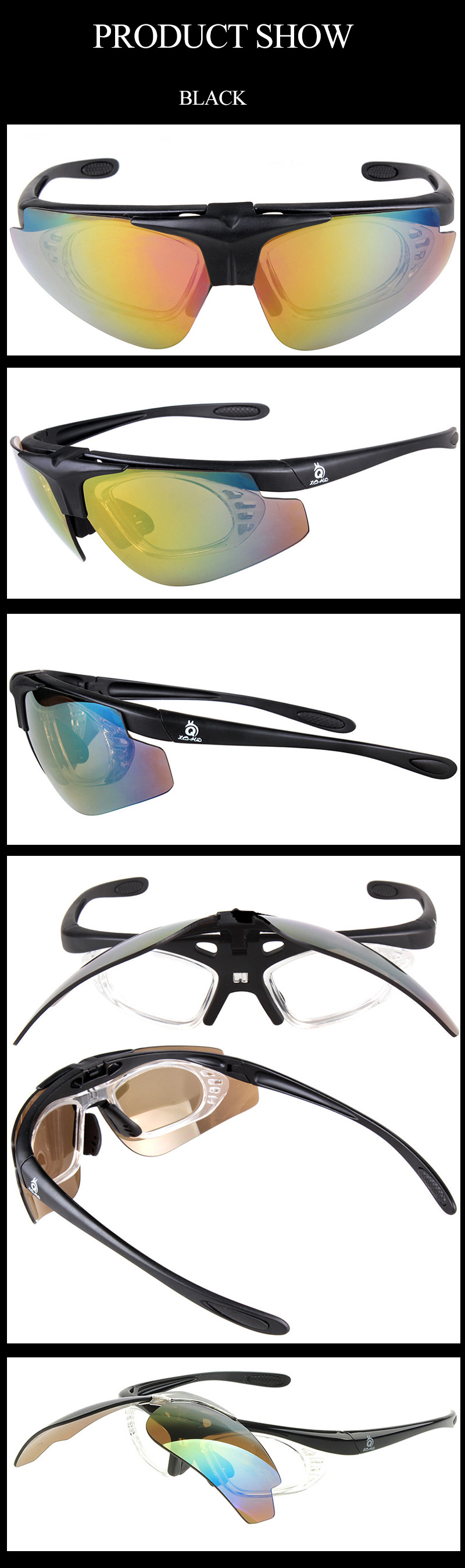 2018 wholesale professional sport flip up cycling glasses PC frame mirror coaitng lens transparent myopia inner frame