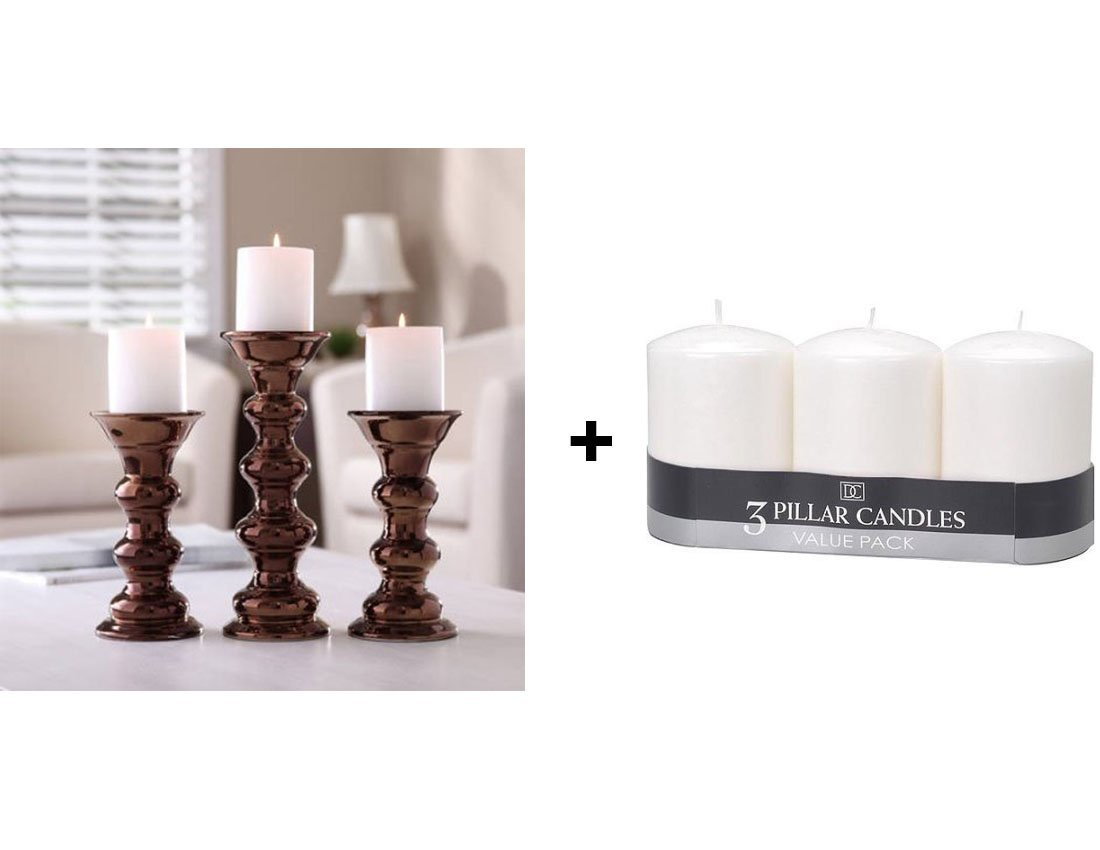 Get Quotations Better Homes And Gardens Touch 100 Percent Ceramic Pillar Elegant Centerpiece Home Decor Candle Holders