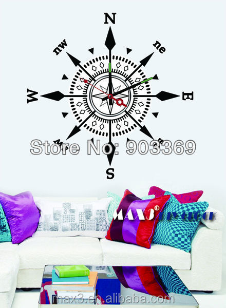 2016 Max3 brand name wall sticker clock with sun clock movement for decorative