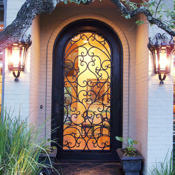 Italian Style Wrought Iron Exterior Front Single Entry Doors Custom