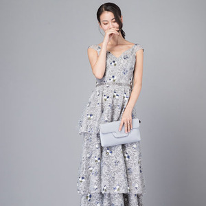 Palace royal gray bouquets sequined lace cake dress