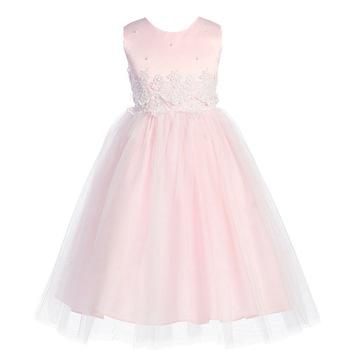 Renda Gaun Kain Bordir Pink Panjang Remaja Gaun Pesta Ulang Tahun