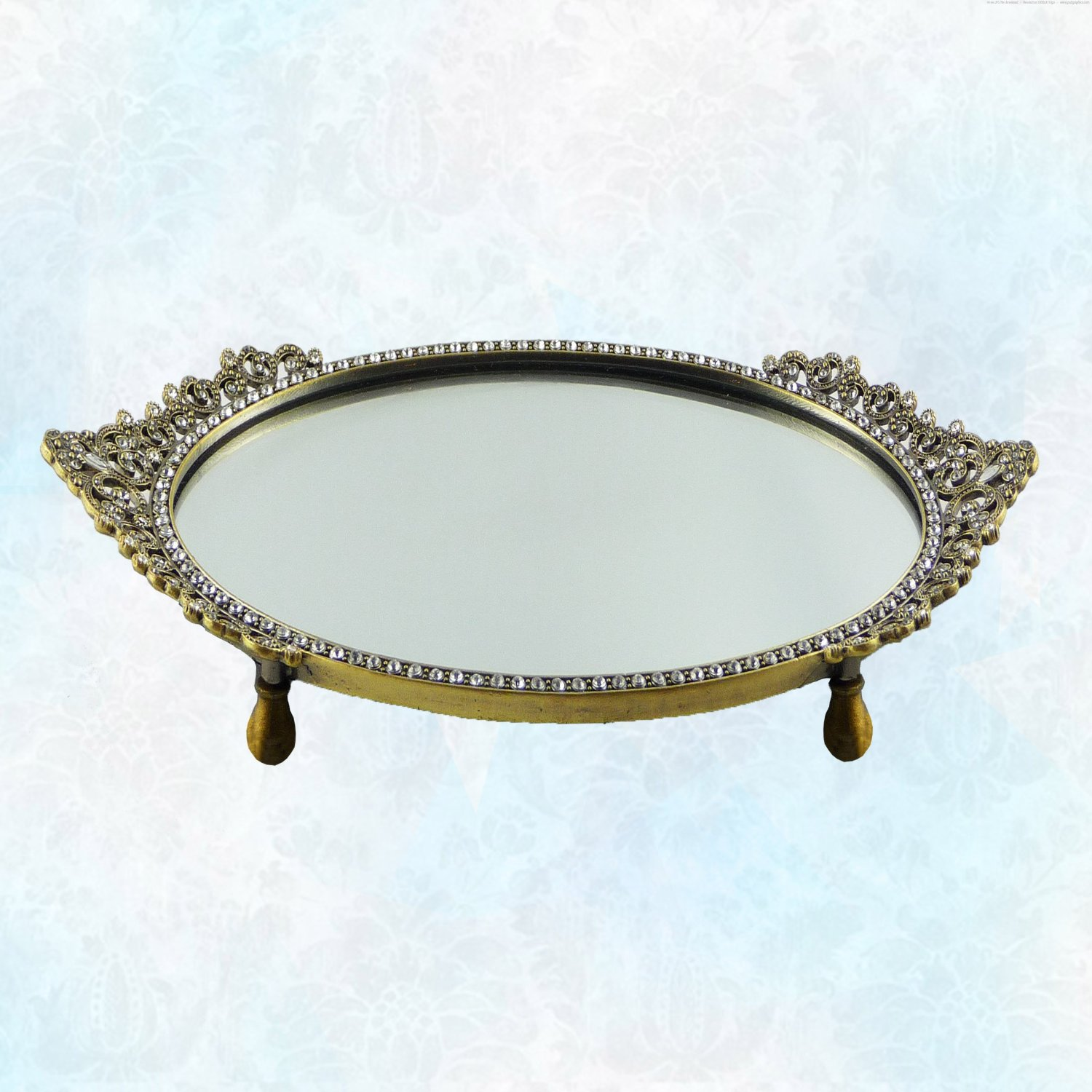 vintage v vanity mirror crystal tray pages