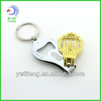 dubai souvenir nail clipper metal keychain with bottle opener function /fashion cheap nail clipper