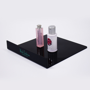 Custom acrylic cosmetic makeup bottle display holder stand logo printed