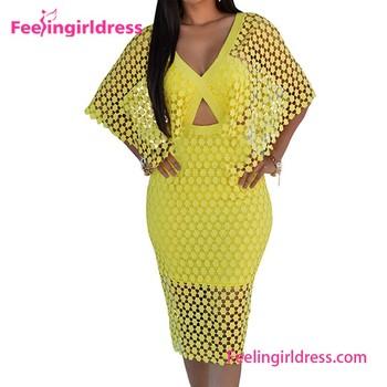 cuello V hueco amarillo vestido De para gorda verano de en de larga manga mujer gXtpwC