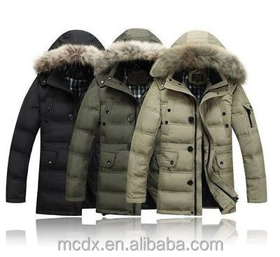 NEW HOT Real men's warm 90% down Long thick coat Hooded down jacket
