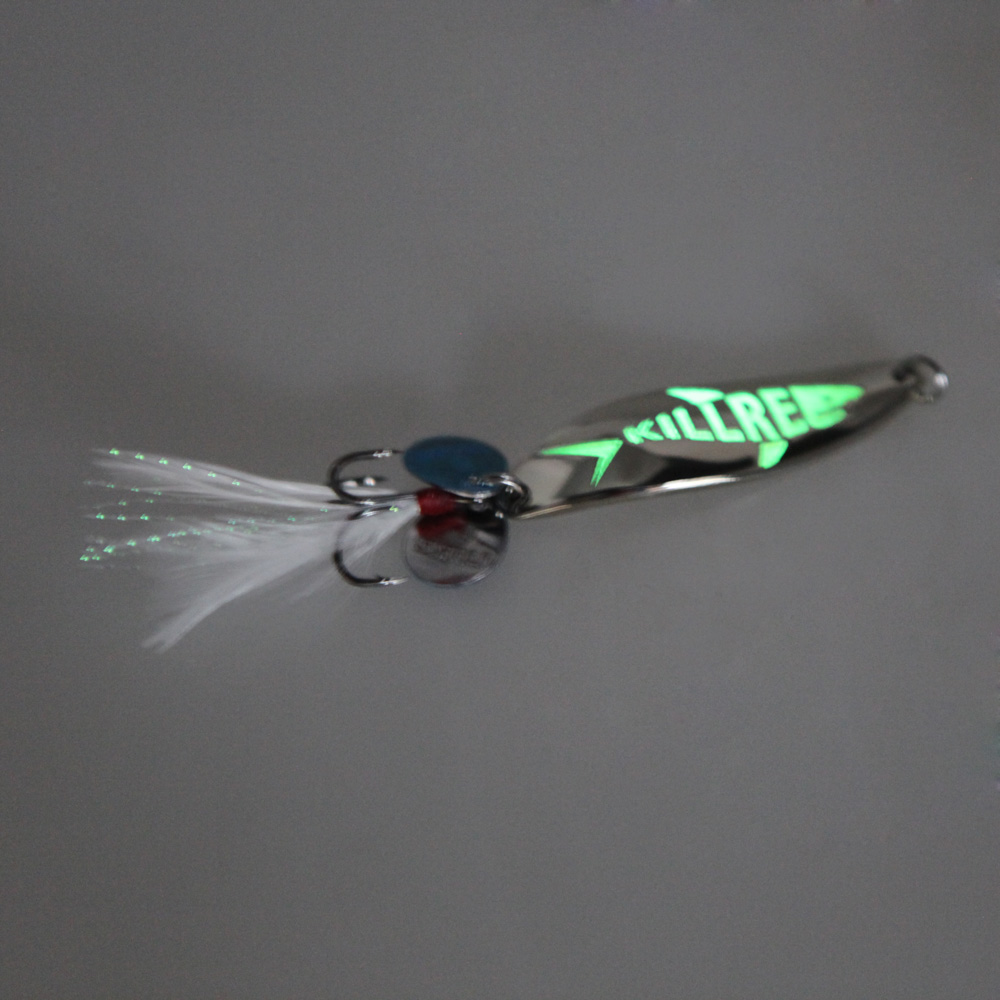 5.5cm/10g Metal Hard <strong>Fishing</strong> Bait Sequin Spoon Noise Paillette <strong>Fishing</strong> Lures with Feather/Treble Hook Luminous
