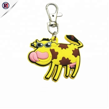 Manufacturer cheap custom style 3d animal keychain soft rubber pvc key chain with cow  logo